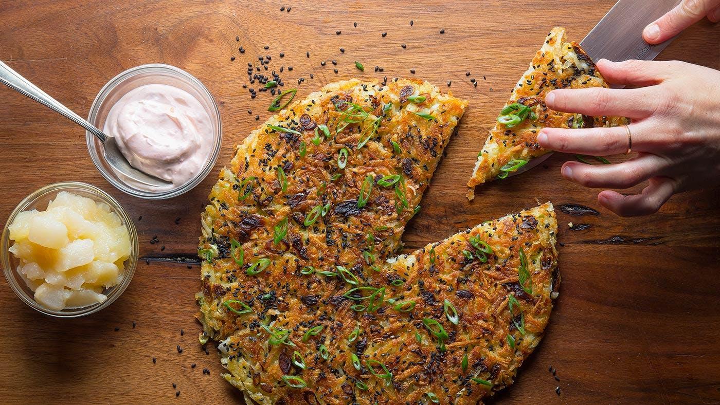 Hero-Potato-Latke-Asian-Pear-Apple-Sauce-Hanukkah-Scallion-Pancake-Entertaining-Recipe